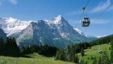 View to the Eiger with First gondola