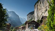 The picturesque Lauterbrunnen Valley with Staubbach Falls